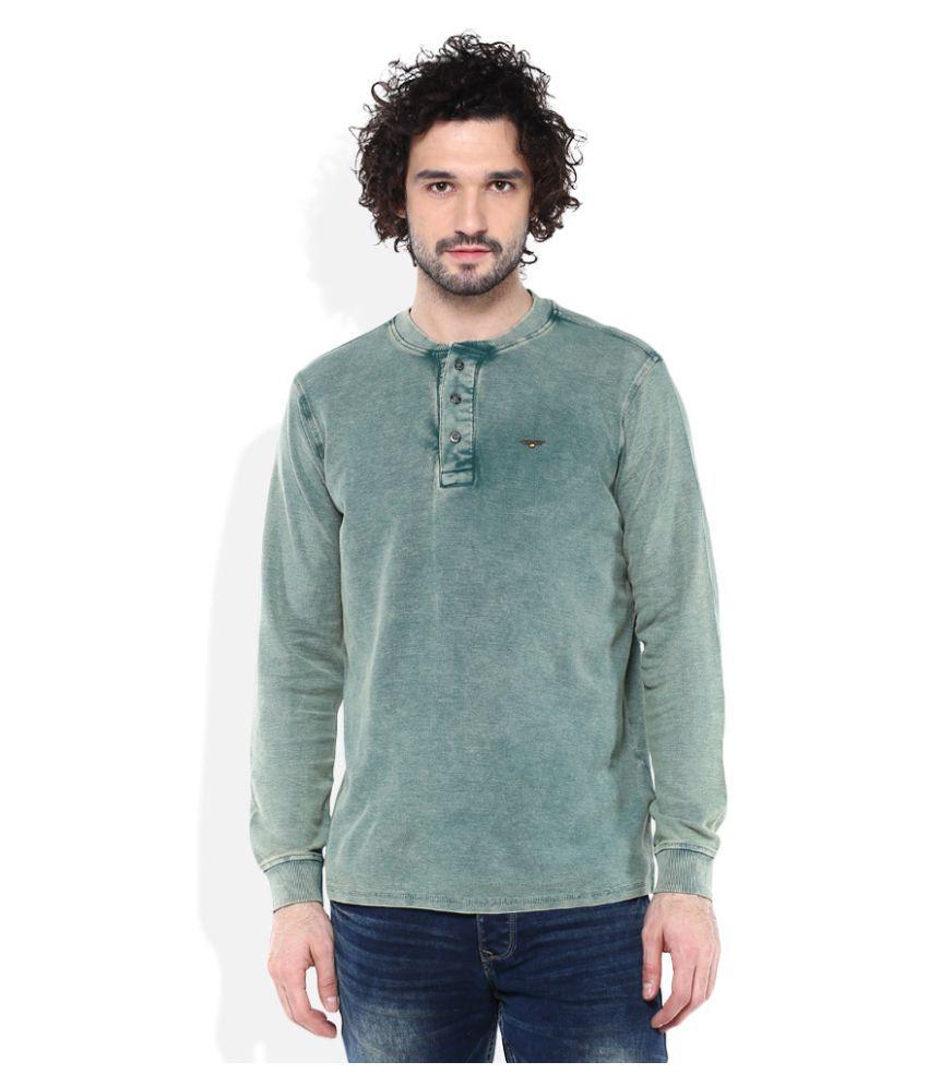 Spykar Green Henley T-Shirt