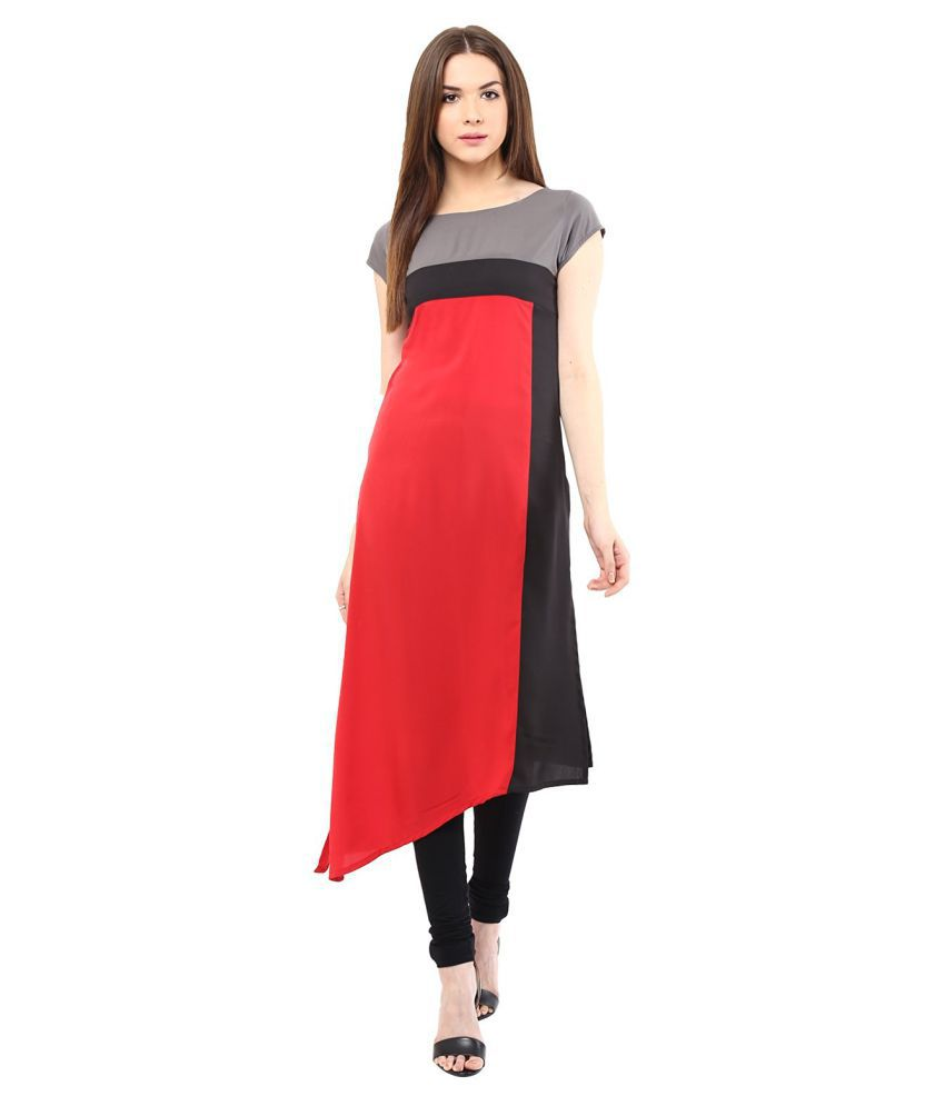 Kevin Plus Red Crepe Asymmetrical Hemline Kurti