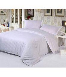 Abhi Home Decor King Satin Stripe White Stripes Bed Sheet