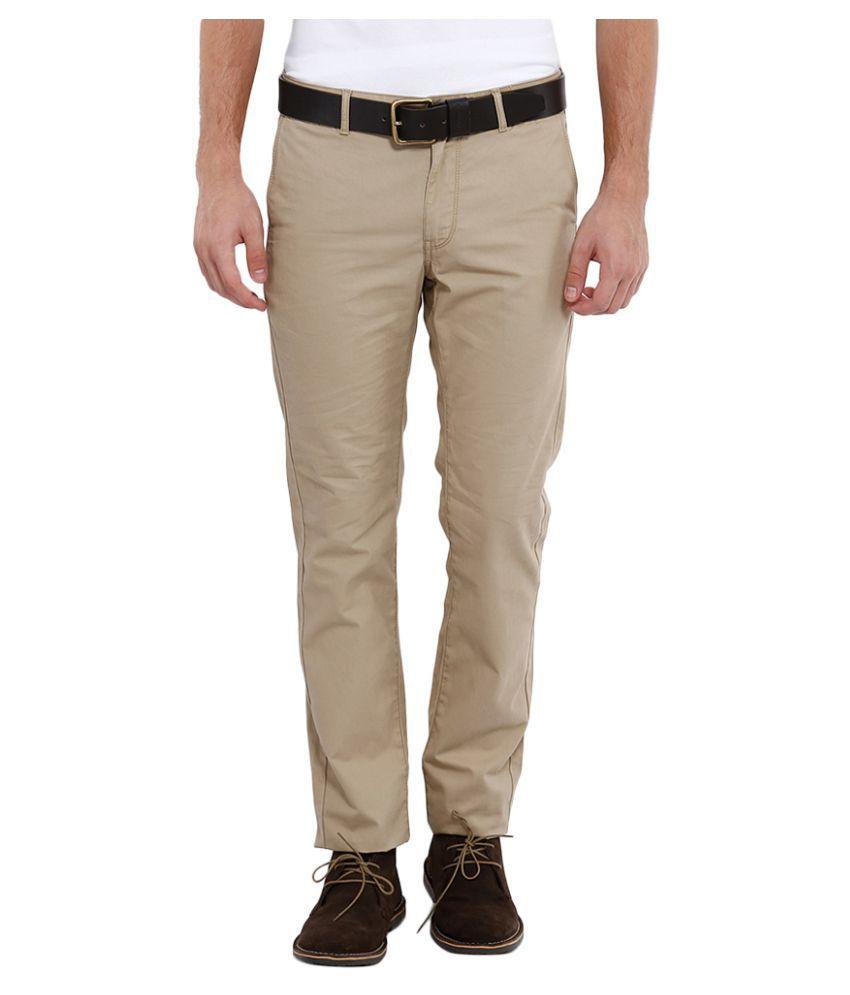 Indian Terrain Khaki Slim Flat Trousers