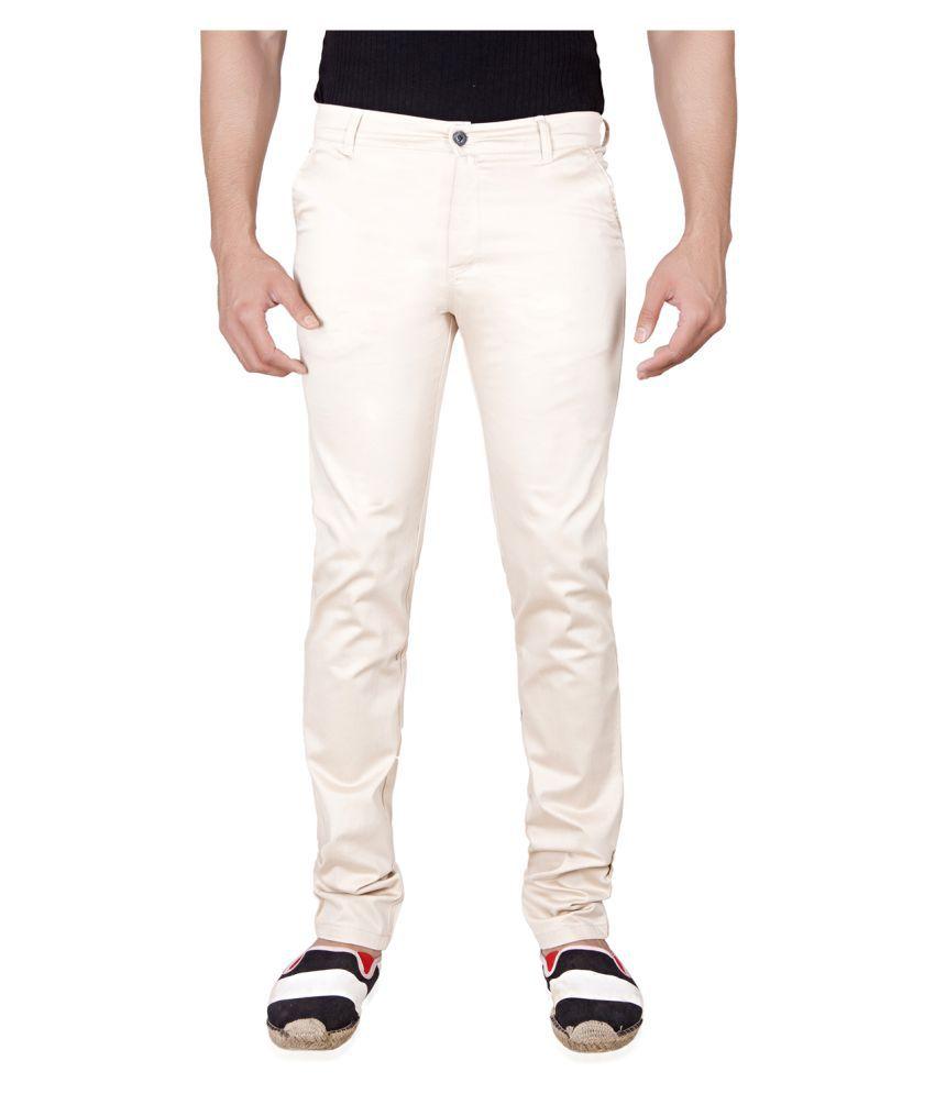 Onebuy White Slim Flat Chinos