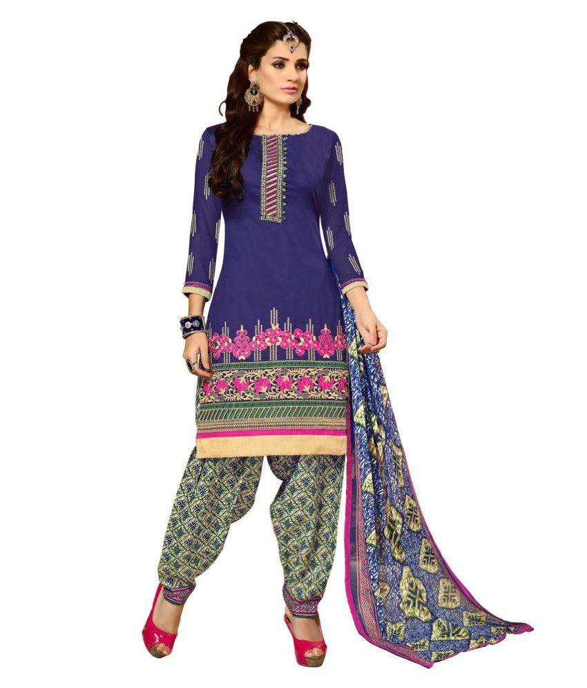 Real Saree Blue Chiffon Dress Material