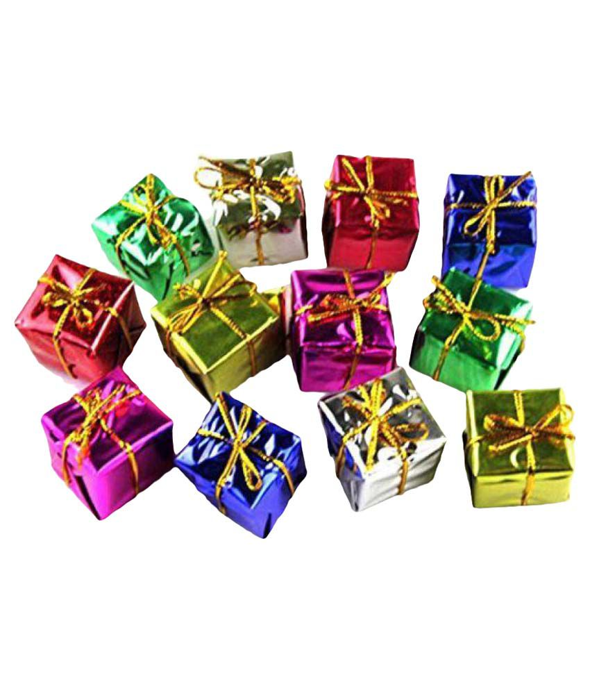 Buy Christmas Tree India: Miniature Christmas Tree Decoration Faux Gift Box- (Pack