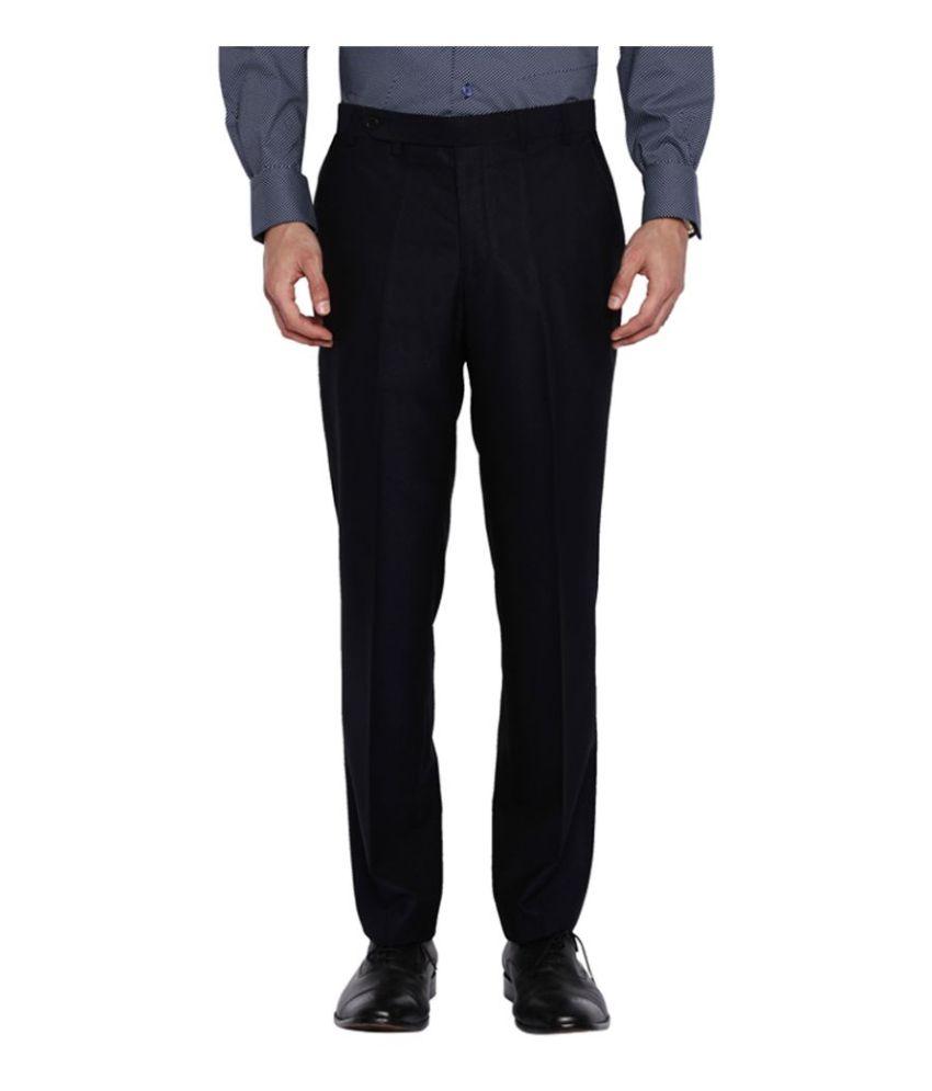 Park Avenue Black Slim Flat Trousers