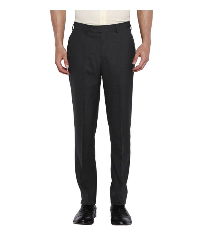 Park Avenue Grey Slim Flat Trousers
