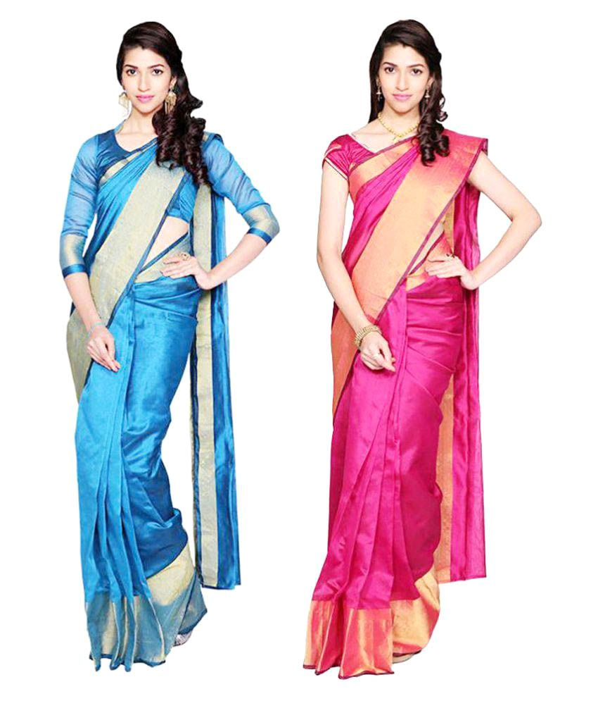 7 Brothers Multicoloured Cotton Silk Saree Combos