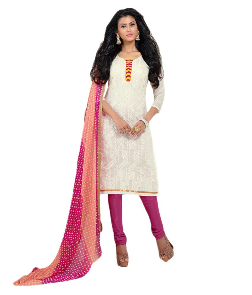 Kalish White Cotton Dress Material