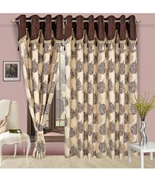 Cortina Single Door Eyelet Curtains Floral Brown