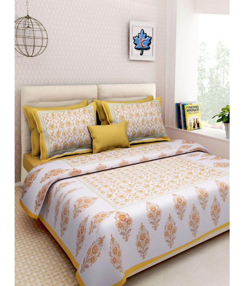 Kismat Collection Double Cotton Multi Floral Bed Sheet