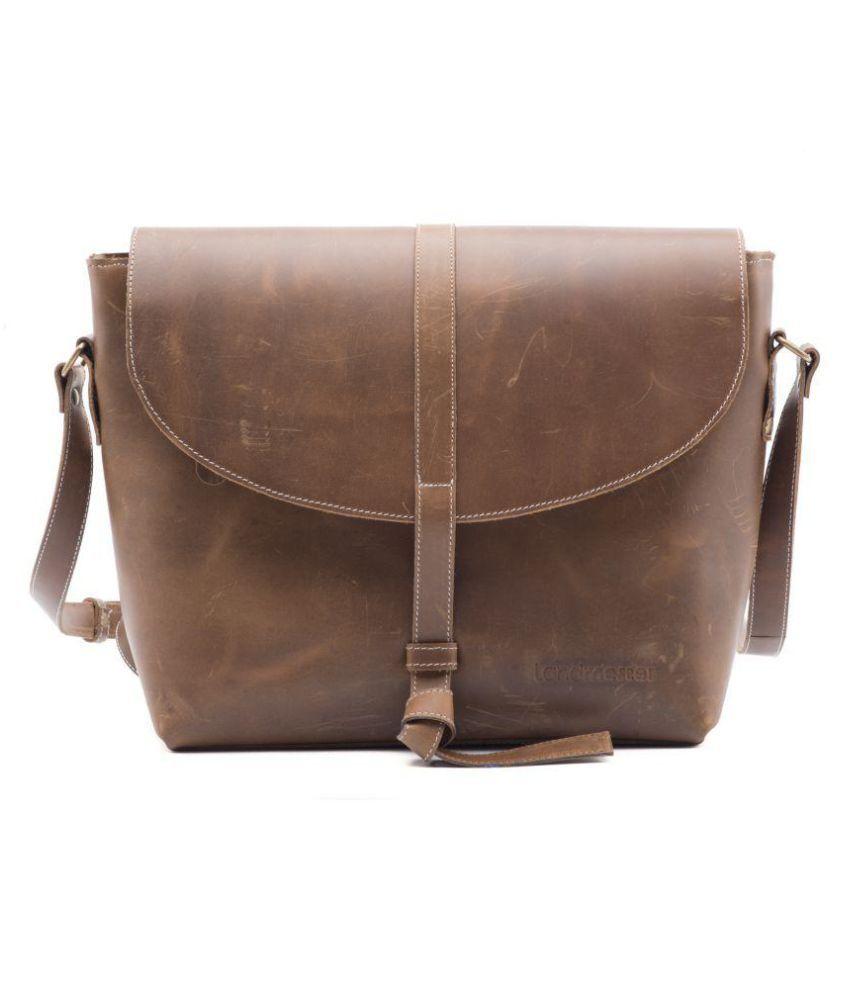Landmesser Brown Pure Leather Sling Bag - Buy Landmesser Brown ...