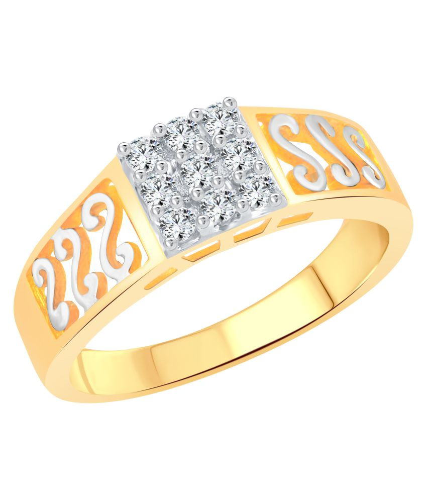Vighnaharta Golden 'S' Design Gold and Rhodium Plated Ring