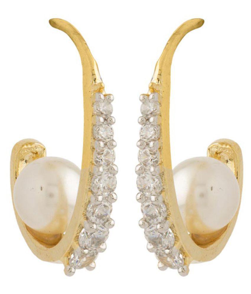 Voylla Golden Brass Hoops Earrings