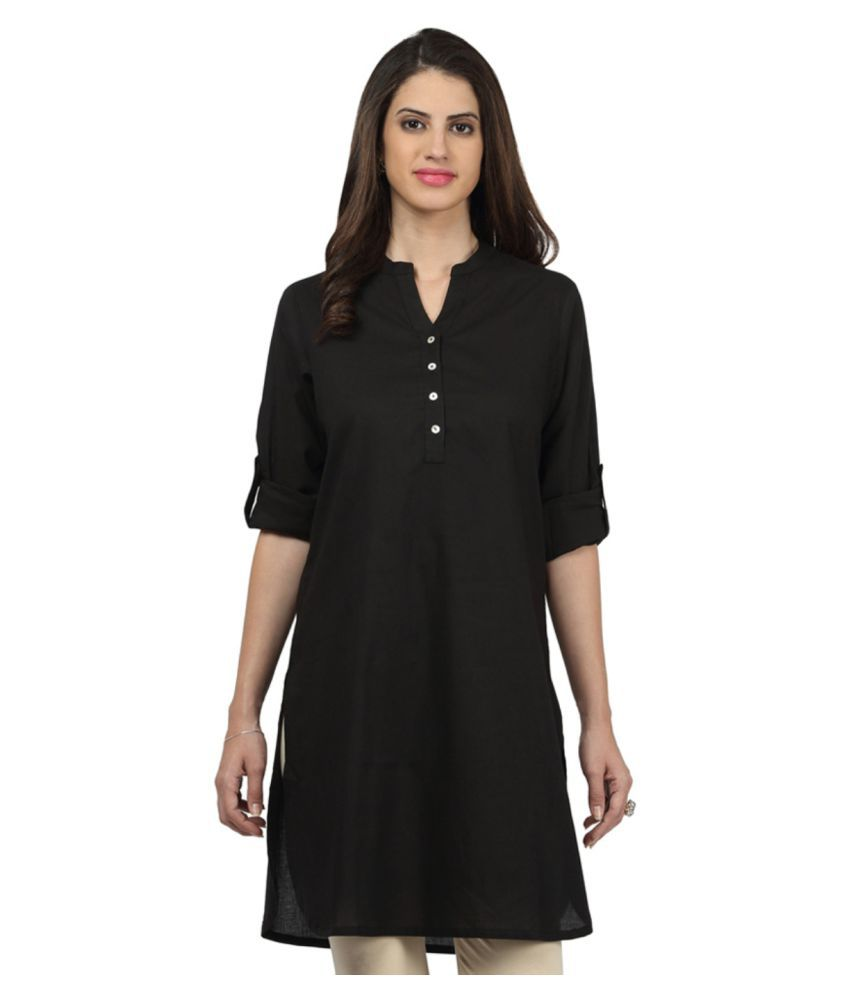 Kevin Plus Black Rayon Straight Kurti