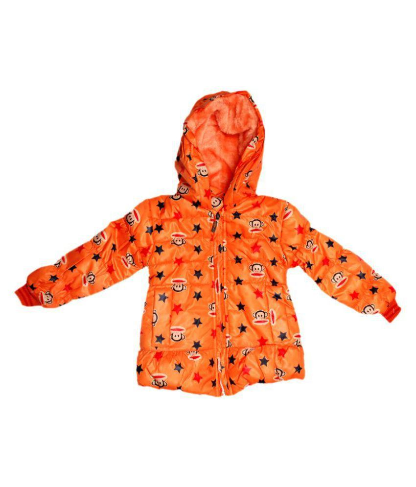 Rudra Fashion House Orange Polyester Jacket For Girls