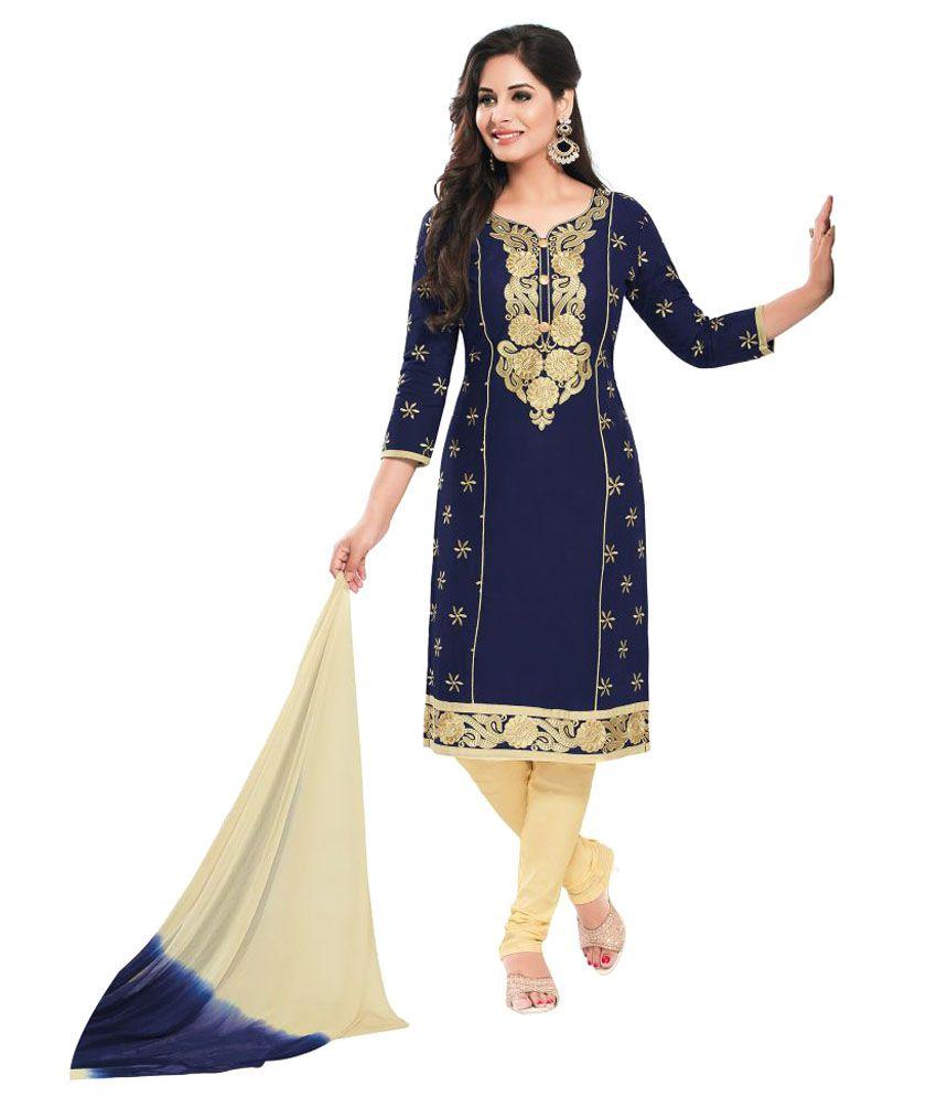 Veeraji Multicoloured Cotton Dress Material