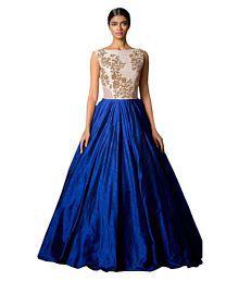 Poshak Mart Blue Satin Anarkali Semi-Stitched Suit