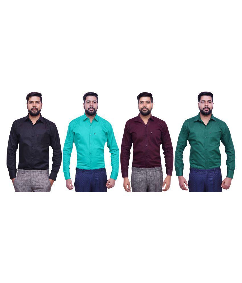 London Looks Multi Formal Regular Fit Shirt Pack of 4