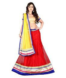 Shreeji Designer Red Net Circular Semi Stitched Lehenga With Blouse