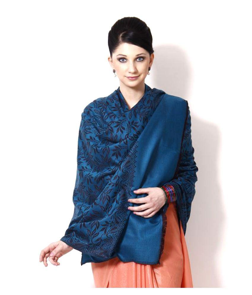 Shawl-e-Kashmir Blue Floral Shawl
