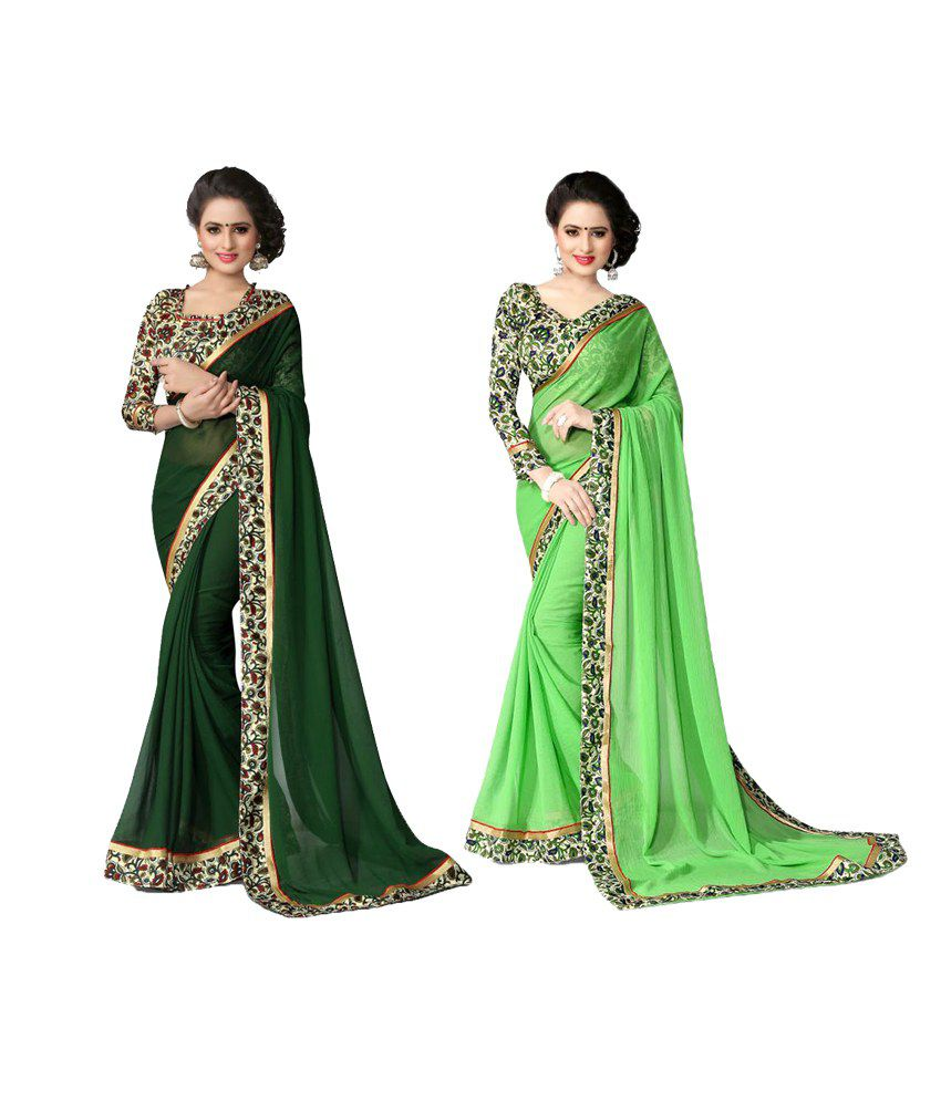 Oorjeet Green Chiffon Saree Combos