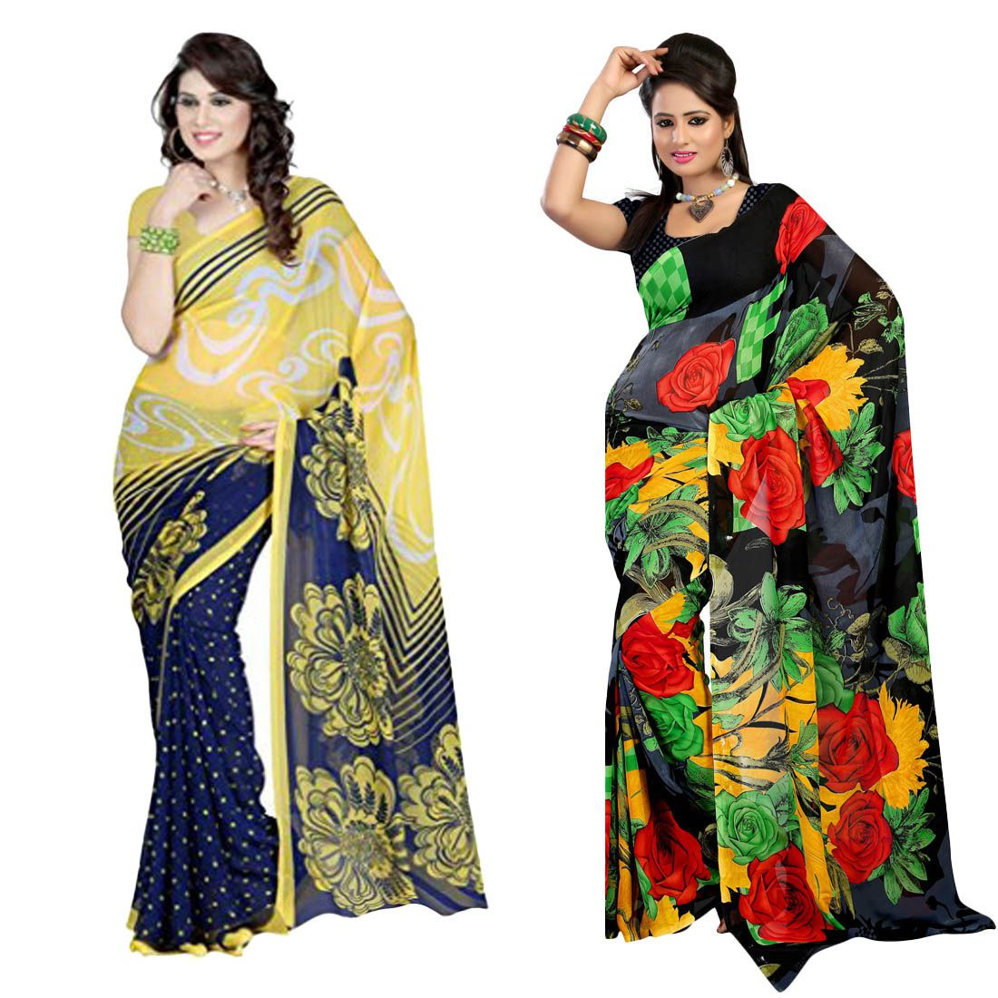 Aangi Multicoloured Georgette Saree Combos