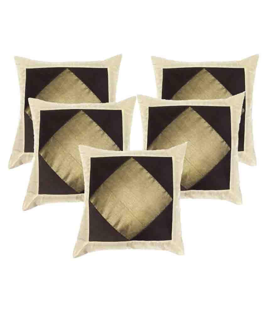 Jaipuri Collection Set of 5 Silk Cushion Covers