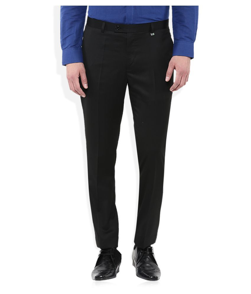Indigo Nation Black Slim Flat Trousers