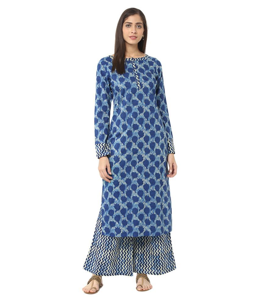 Jaipur Kurti Blue Cotton Straight Stitched Suit