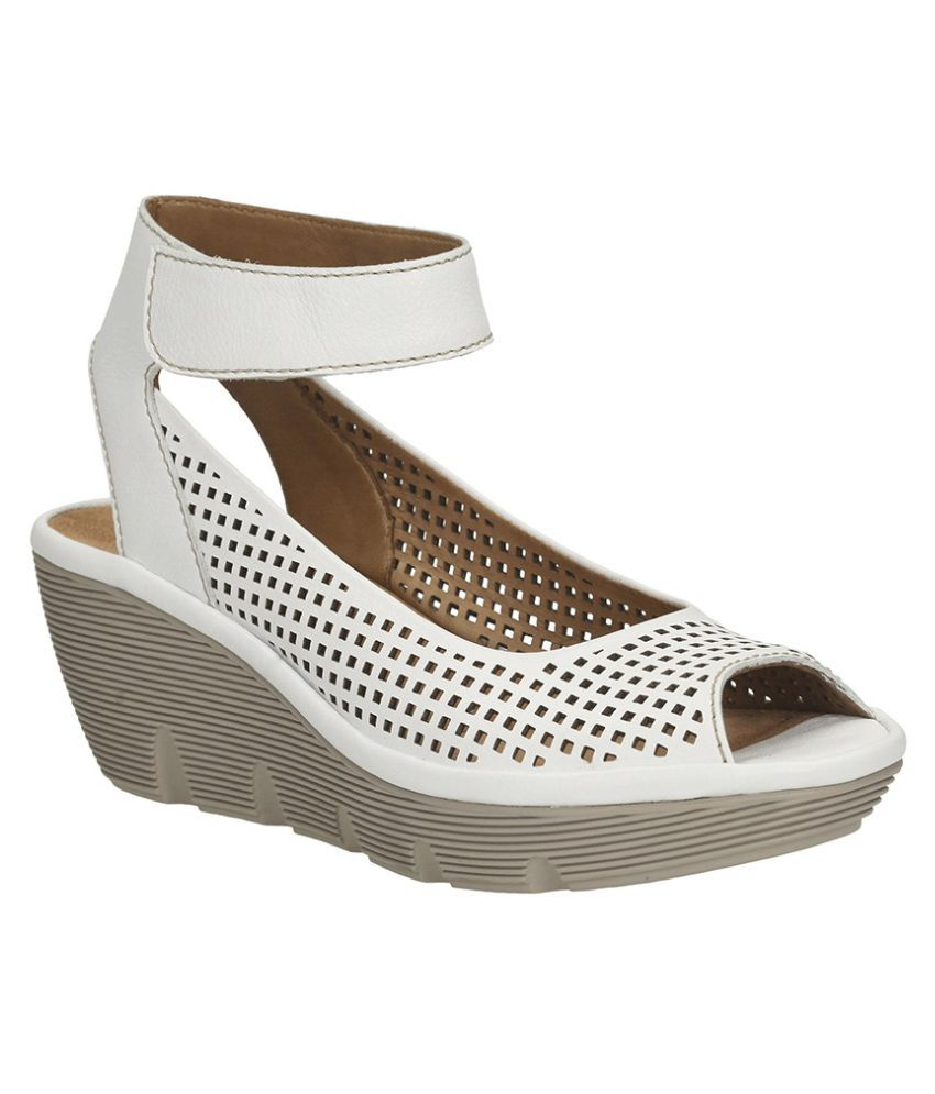 Clarks White Wedges Heels
