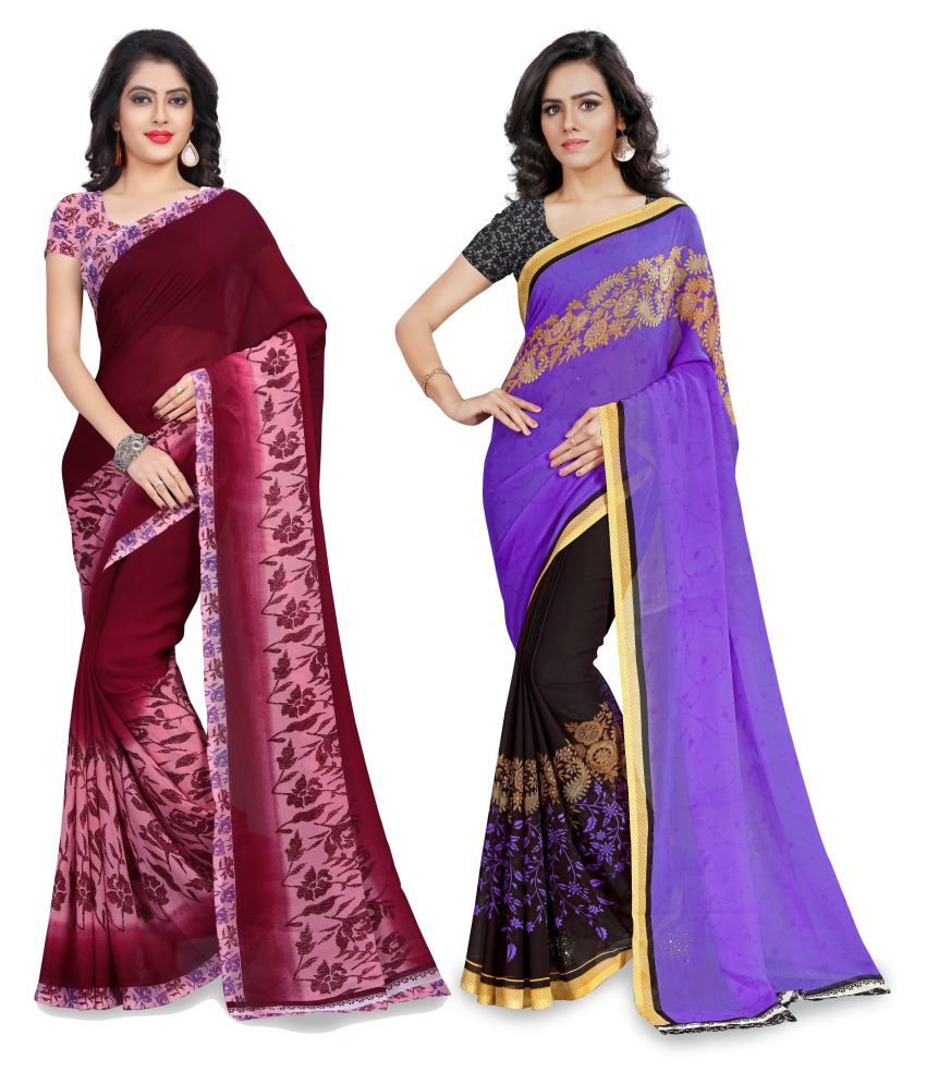 Vimal International Multicoloured Georgette Saree Combos