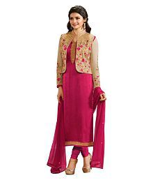 Multi Retail Pink Georgette Dress Material