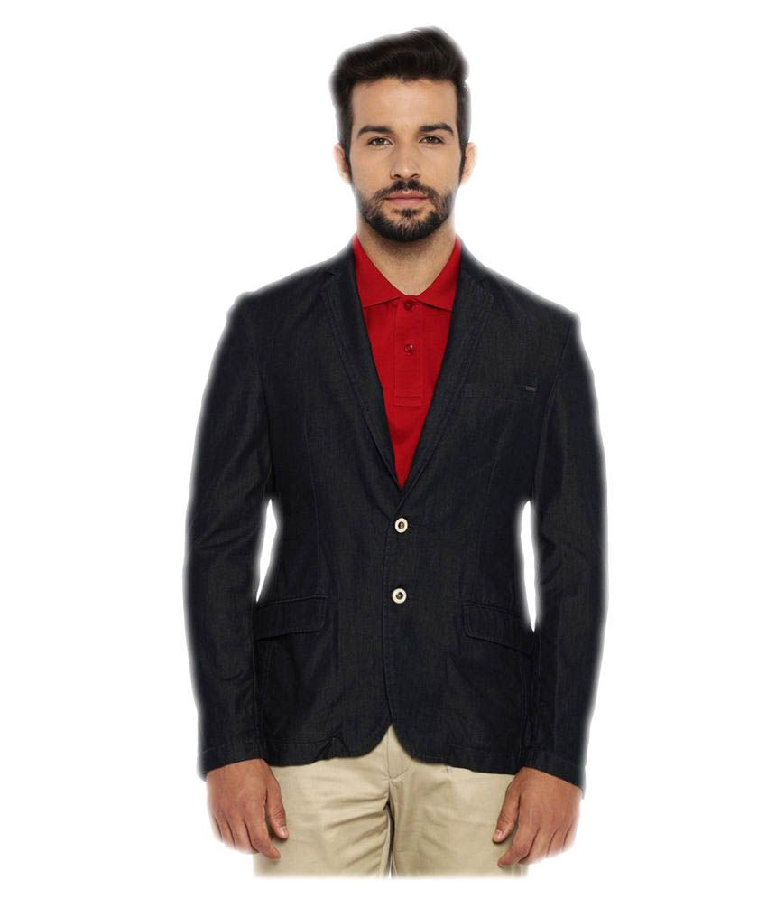 Park Avenue Blue Solid Casual Blazers