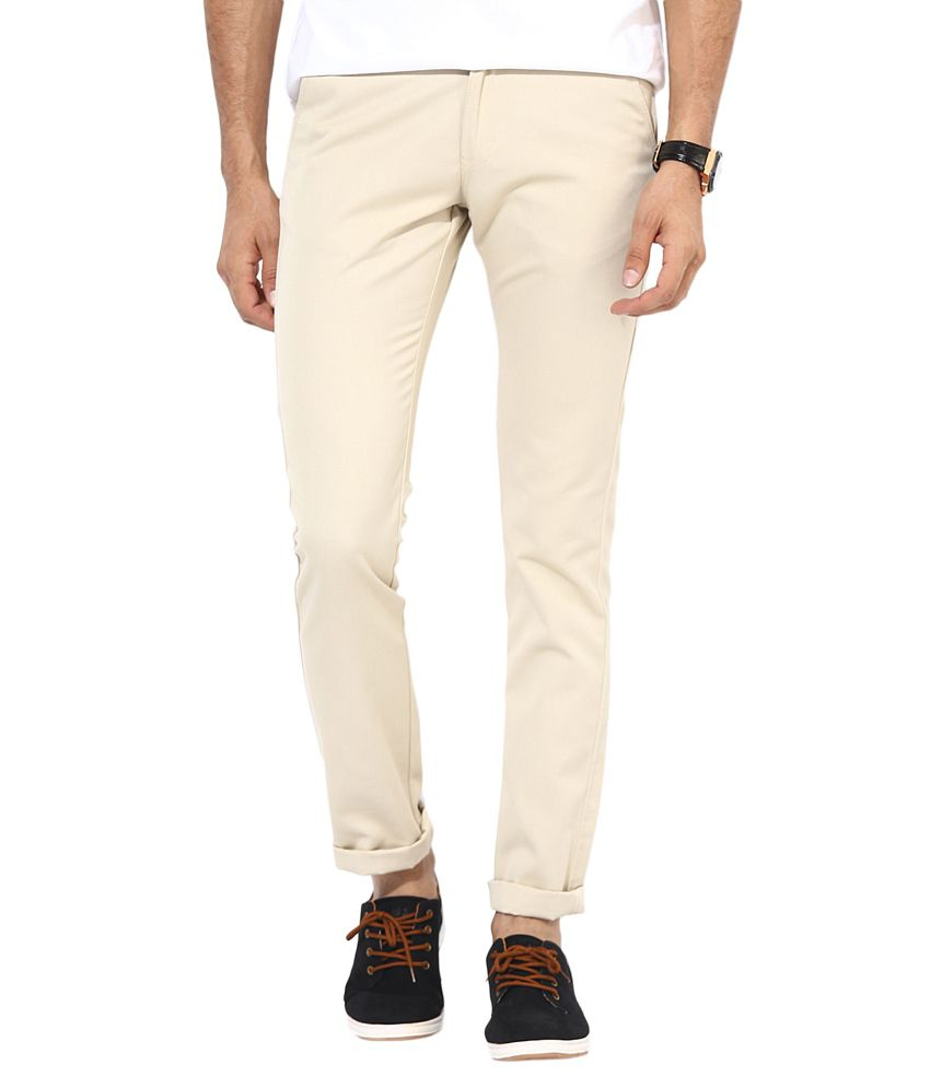 Bukkl Cream Slim Fit Casual Chinos