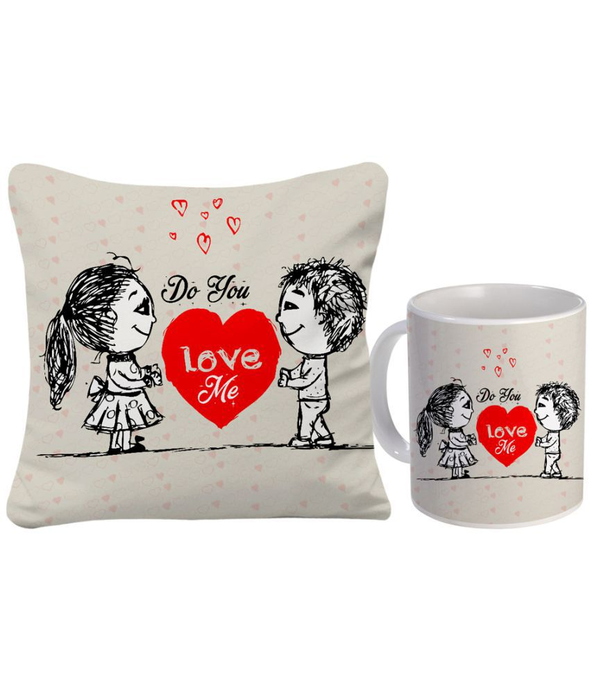 Sky Trends Valentine Combo Cushion Cover With Ceramic Coffee Mug Best Gift
