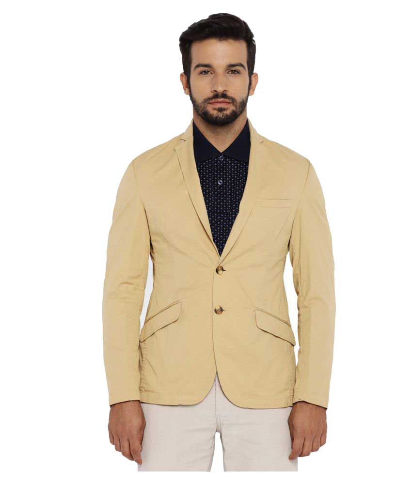 Park Avenue Beige Solid Casual Jackets
