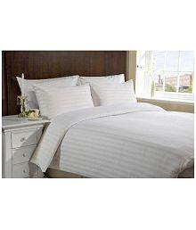 Jain Shoppers Double Satin Stripe White Stripes Bed Sheet