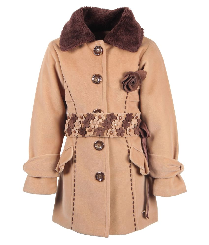 Cutecumber Brown Polyester Medium Coats for Girls