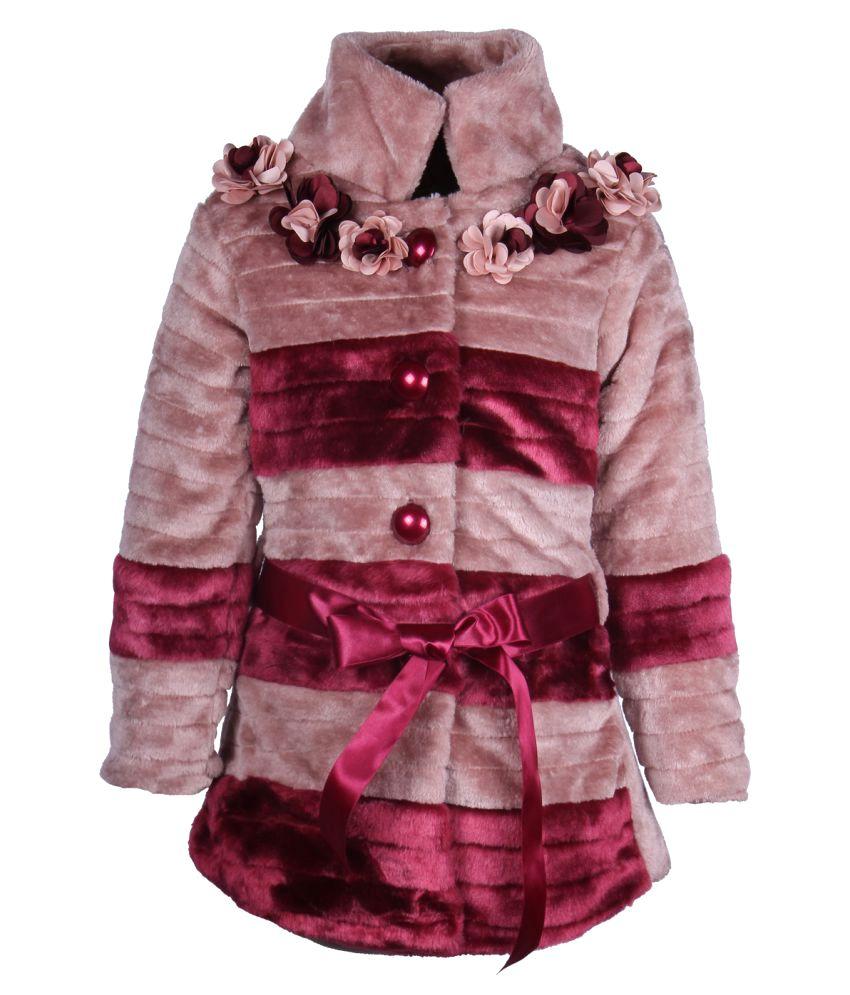 Cutecumber Maroon Polyester Medium Coats for Girls