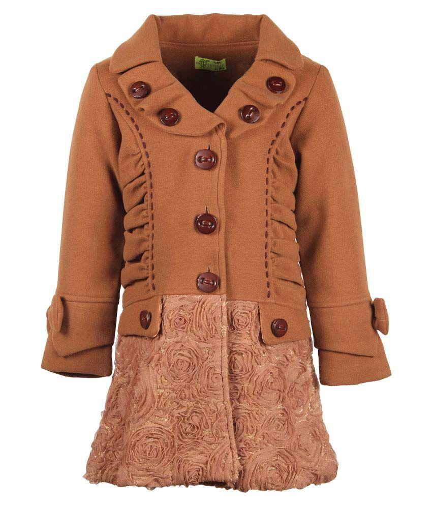 Cutecumber  Partywear Winter  Girls  Brown Jacket
