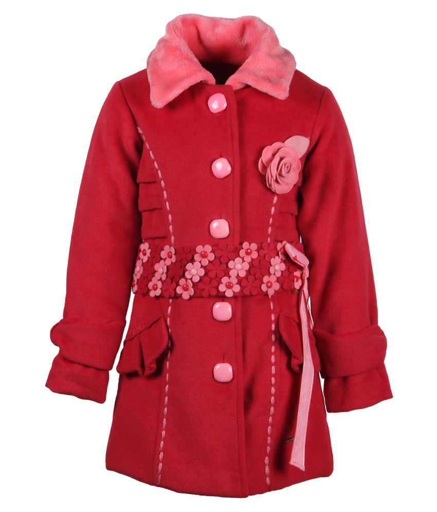 Cutecumber Partywear Winter Red Coats Jacket