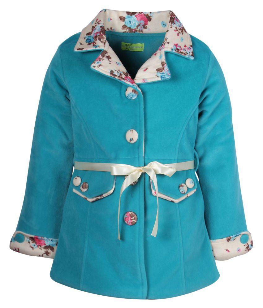Cutecumber Turquoise Polyester Medium Coats for Girls