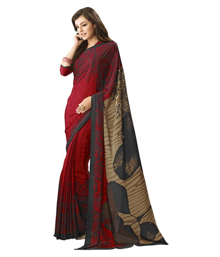 Varayu Maroon Crepe Silk Saree
