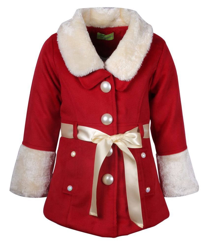 Cutecumber Red Polyester Coats Single Partywear Winter Girls Jacket