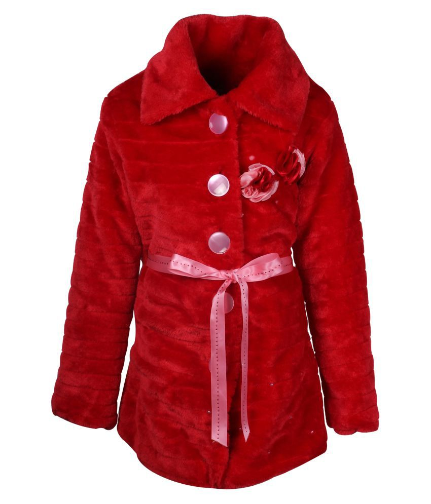Cutecumber Red Polyester Partywear Winter Girls Coat