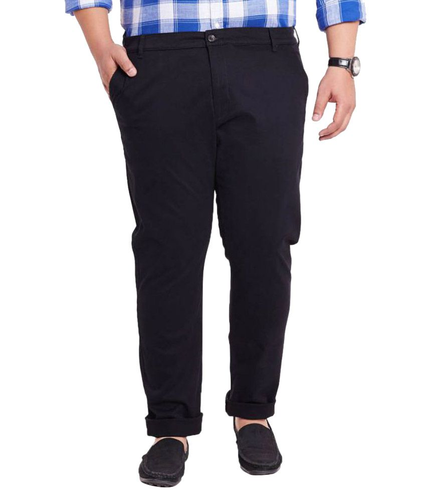 Mike & Smith Black Slim Flat Trousers