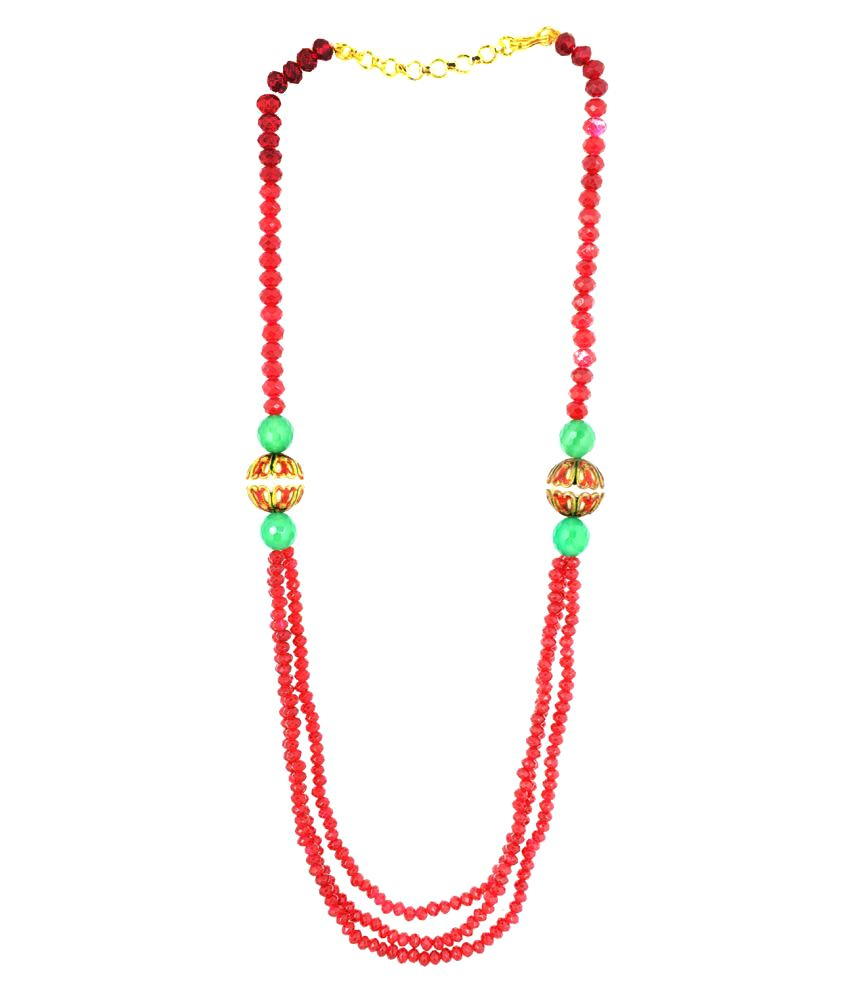 Be You Red Color Beads Necklace for Women