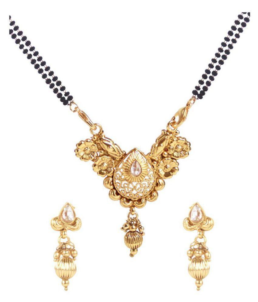 Penny Jewels Golden Alloy Antique Mangalsutra Set