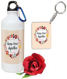 Skytrends Valentine Gift Multicolour 600 Sports Sipper With One Keychain And One Artificial Rose