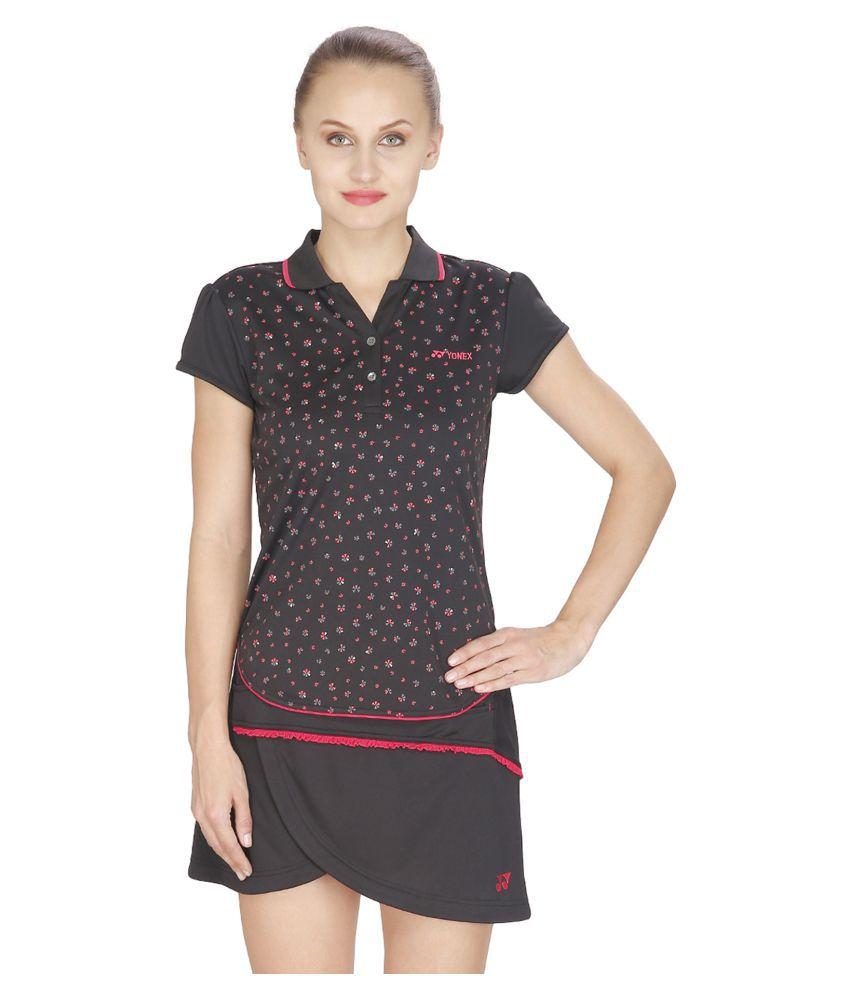 Yonex Black Polyester Polo T-Shirts