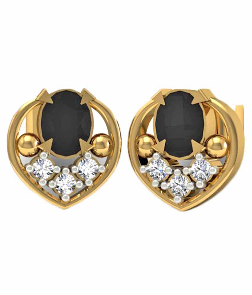 Jewelmantra 14k BIS Hallmarked Gold Diamond Studs